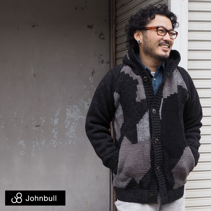 ハンドメイドならではぬくもりが魅力♪JOHNBULL(ジョンブル) メンズ ニットパーカー ニットフードジャケット 迷彩柄 16490 送料無料