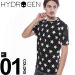 個性的な総スター柄♪<br>HYDROGEN(ハイドロゲン) Tシャツ 半袖 スター総柄 ロンT ブランド メンズ カットソー HY220112 送料無料