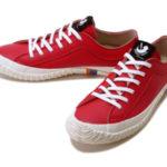 スピングルロゴのワンポイント♪<br>SPINGLE MOVE(スピングルムーブ) レザー 革 スニーカー レッド Red SPM-106 日本製 Made in JAPAN White 送料無料