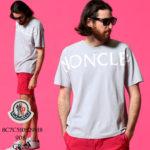 MONCLER モンクレール メンズ Tシャツ MONCLER ロゴ プリント クルーネック 半袖 ライトグレー ブランド トップス コットン MC8C7C510829H8 送料無料