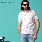 EMPORIO ARMANI エンポリオ アルマーニ メンズ Tシャツ 半袖 EMPORIO ARMANI ロゴ 総柄 プリント クルーネック ブランド トップス プリントT ロゴT EA3H1TD71J30Z SALE_1_a 送料無料
