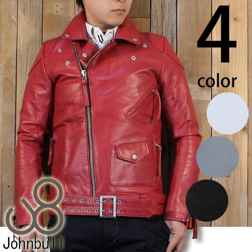野暮ったさがなくスッキリ♪JOHNBULL(ジョンブル) メンズ カラー ダブルライダース レザージャケット 16175 送料無料